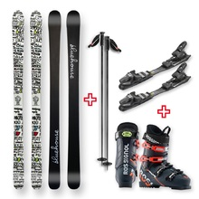 Bluehouse Snow Skis (white) Camber Sidewall with Binding, Boots, Poles
