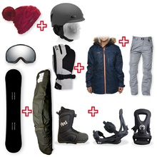 FIND Snowboard Package with Realm ATOP Cable Boot and TRACTION Binding + Women Head to Toe Package