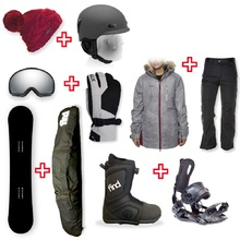 Snowboard Package PRESALE with Realm ATOP Cable Boot and Rear Entry SP Binding + Women Head to Toe Package