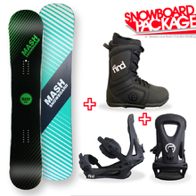 Mash Green Camber Capped 155cm Snowboard Package with Bindings & Boots