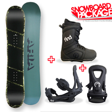 Aria Dropout Green/Camo Camber Capped 154.5cm Snowboard Package with Bindings & Boots