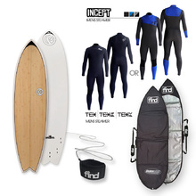 FIND™ Quadfish Ecoflex Bamboo Surfboard + Cover + Leash + Incept/Tex Wetsuit