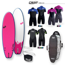 FIND 2021 Tufflex Surfboard - Pink + Cover + Leash + Orbit Spring wetsuit