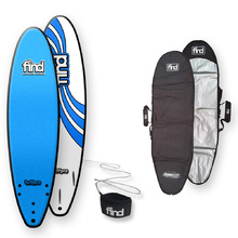 FIND™ TuffPro Thruster Soft Surfboard Blue + Cover + Leash Package