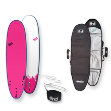 FIND™ NEW Tufflex Thruster Soft Surfboard Pink + Cover + Leash Package