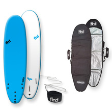 FIND™ NEW tuffrap Thruster Soft Surfboard Blue + Cover + Leash Package