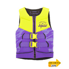 JetPilot The Cause Front Entry Kids Neo Vest Level 50 - Yellow/Purple