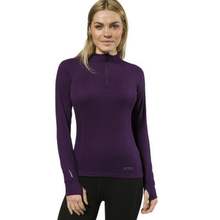 XTM Adult Female Thermal Tops Merino Ladies Zipneck 230GSM Blackberry