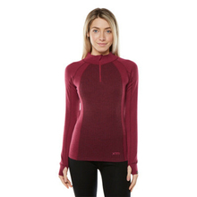 XTM Adult Female Thermal Tops Merino Ladies Zipneck 230GSM Burgundy
