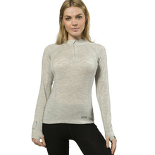 XTM Adult Female Thermal Tops Merino Ladies Zipneck 230GSM Light Grey