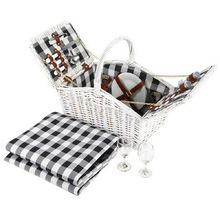 Alfresco 2 Person Picnic Basket Baskets White Deluxe Outdoor Corporate Blanket Park