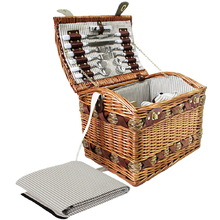 Alfresco 4 Person Picnic Basket Baskets Deluxe Outdoor Corporate Blanket Park
