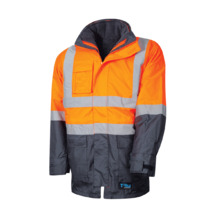 Tru Workwear 4 In 1 Rain Jacket - Orange Navy