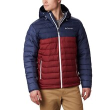 Columbia Mens Powder Lite Hooded Insulated Jacket - Red Jasper Navy