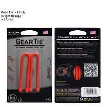"Nite Ize Gear Tie 6"" 2 Pack - Bright Orange"
