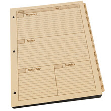 Rite in the Rain Maxi Weekly Planner Refill With 3 Hole Punch 1 Year - Tan - 8.5 X 11